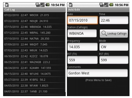 Amateur Radio Call Log is a basic ham radio logging app for Android 1.5 and ...